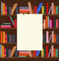 Bookshelf in library with empty blank board on it vector