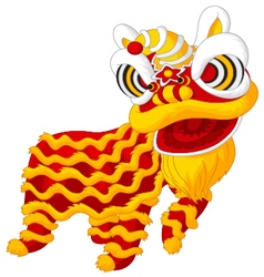 Cartoon chinese lion dancing vector