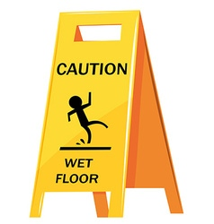 Caution sign warning about wet floor vector image