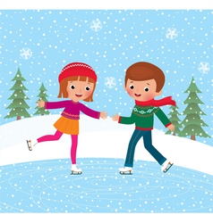 Children ice skate vector image vector image