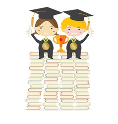 Children wearing graduation suit education concept vector