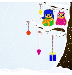 Chrstmas owls on branch of tree background vector