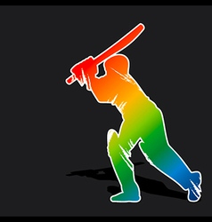 Creative abstract cricket player by brush stroke vector