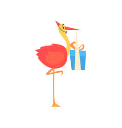 cute cartoon stork in a red party hat carrying vector image vector image