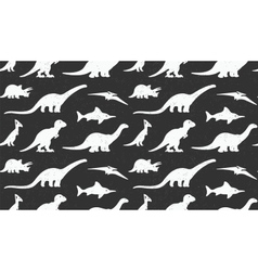 Dinosaurs white silhouettes on black background vector