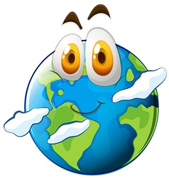 Earth with happy face vector image vector image