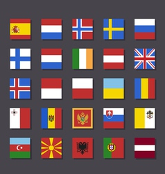 Europe flag icon set Metro style vector image vector image
