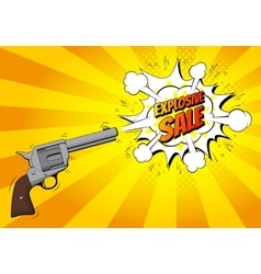 Explosive sale banner with gun vector
