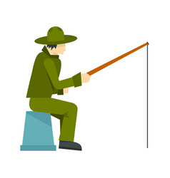 Fisherman sitting with fishing rod icon flat style vector