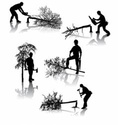Forestry workers vector