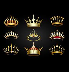 golden crown set vector image vector image