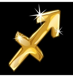 Golden zodiac sign sagittarius on black background vector