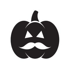 Halloween black pumpkin with mustache vector image