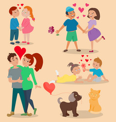 happy adult couple in love feeling emotions vector image vector image