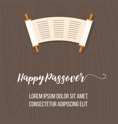 Happy passover poster with torah scroll vector