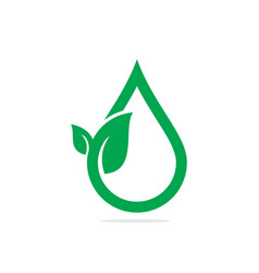 Isolated abstract water drop in green leaf logo vector