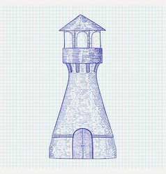 Lighthouse hand drawn sketch vector