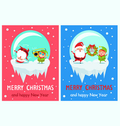 merry christmas happy new year poster elf santa vector image