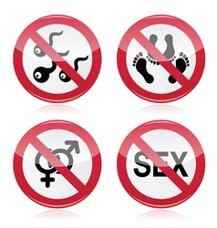No sex romace red warning sign vector image vector image