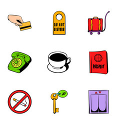 Receptionist icons set cartoon style vector