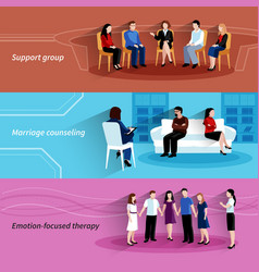 Relationship counseling therapy flat banners set vector