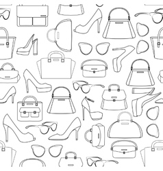 Seamless pattern of bags and shoes vector image vector image