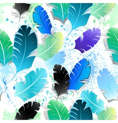 Seamless Pattern with Blue Feathers vector image