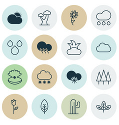 Set of 16 nature icons includes seashell rain vector