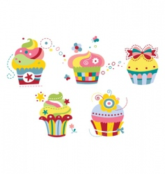 set of colorful cupcakes vector image