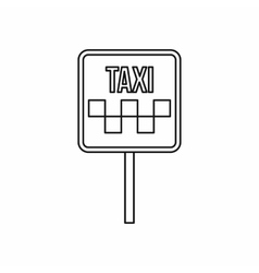Sign taxi icon outline style vector image
