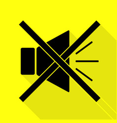 Sound sign with mute mark black icon vector