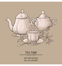 Teapot with cup and sugar bowl vector
