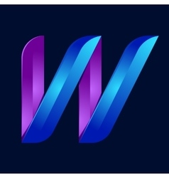 W letter volume blue and purple color logo design vector image