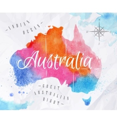 Watercolor map australia pink blue vector