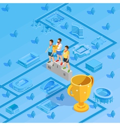 Winners Podium Stadium Background Isometric Poster vector image vector image