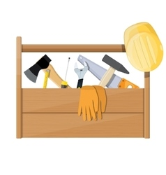 Wooden toolbox full of construction equipment vector