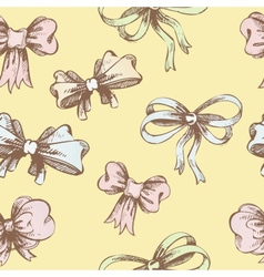 Vintage hand-drown bow pattern vector image