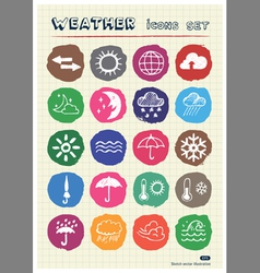 Weather web icons set drawn by chalk vector
