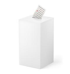 Ballot box with ballot paper on white vector