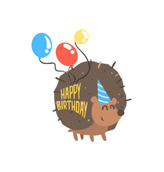 Cute cartoon hedgehog in a blue party hat and vector
