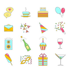 Party celebration color line icon set vector