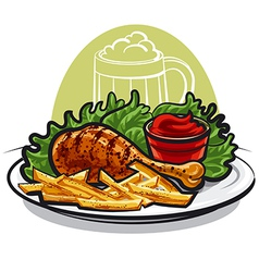 Chicken leg with fries vector