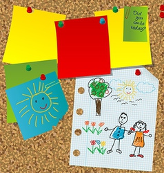 Cork board with paper notes and children pictures vector