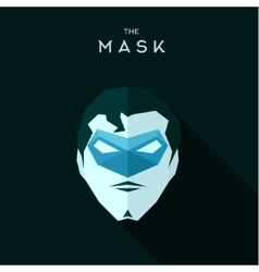 Superhero in a blue mask head into flat style vector