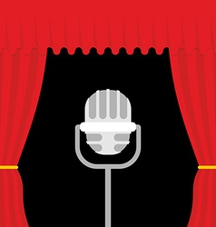 Stage with red curtain and retro microphone open vector