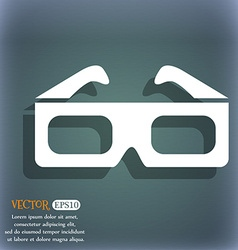 3d glasses icon on the blue-green abstract vector