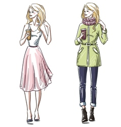 Winter and summer look vector