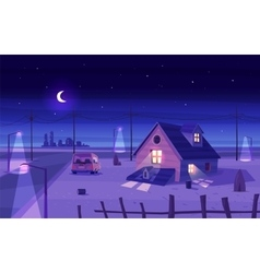 Beautiful moonlight over cartoon house vector