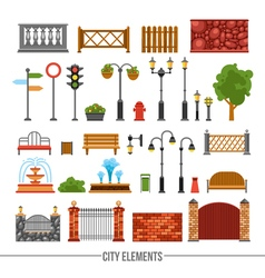 City elements flat icons set vector