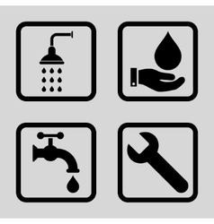 Plumbing flat squared icon vector